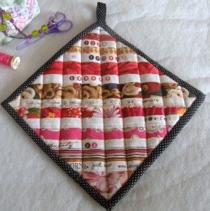The front of the pot holder