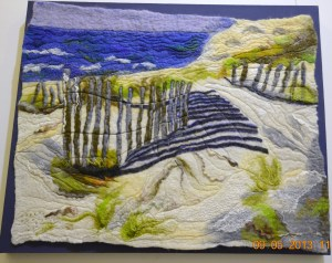Sydney's northern beaches. Wet felted from marino wool and silk roving.