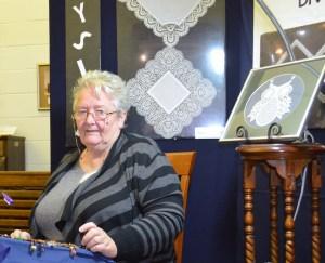 Nina making beautiful lace