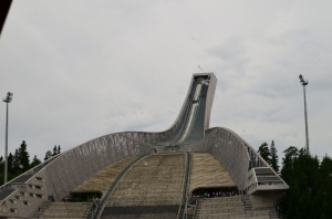 Looking up to the top of the ski jump