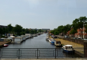 Boats on the canal - houseboats are moored on the left hand side