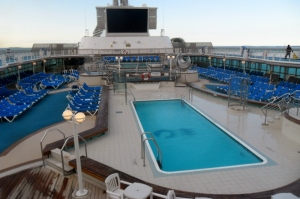 Two of the three pools on the ship