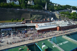 Who could fail to be impressed when a whole town comes to say goodbye!  Fond memories of Cobh, Ireland....