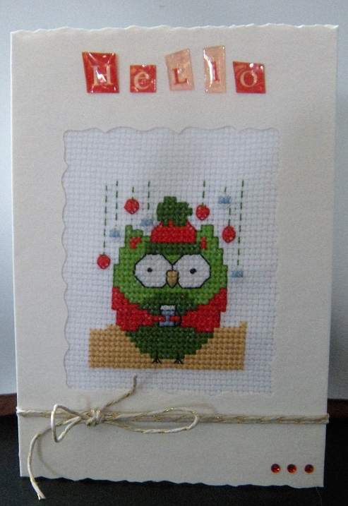 Cross stitch Owl card